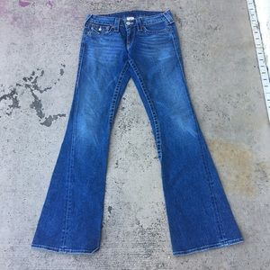 True Religion Joey Wide Flare Denim Blue Jeans